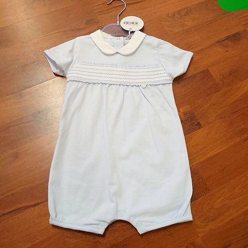 Bluesbaby Smocked Blue Collared Romper
