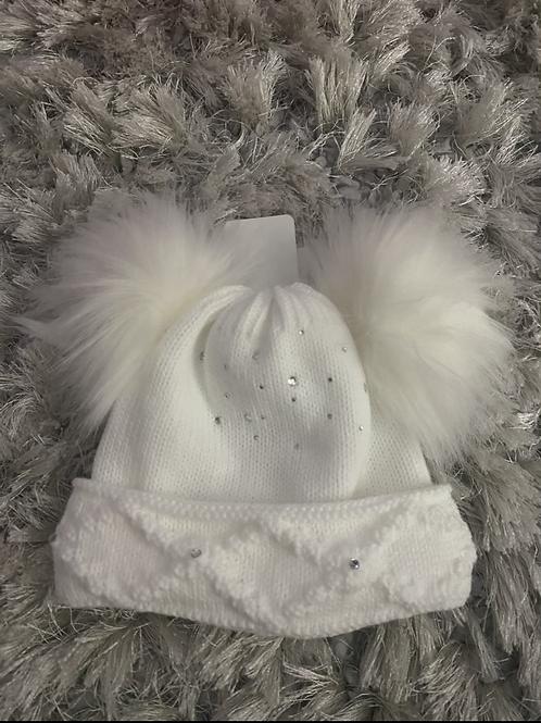 Crystal fur Pom Pom hat