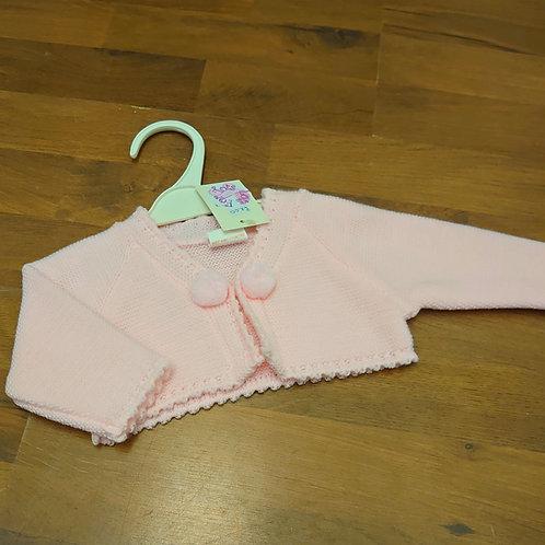 Little Nosh Pink Pom Bolero Cardigan