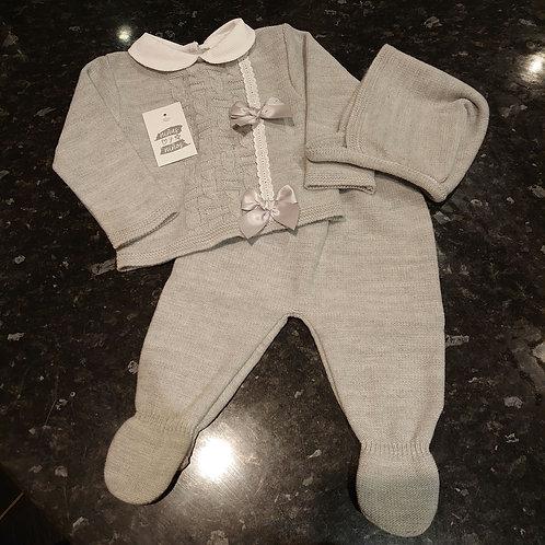 Ninas Y Ninos Grey 3pce Knitted Set