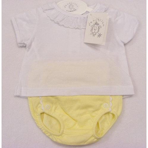 Lemon/white summer set (small fitting)