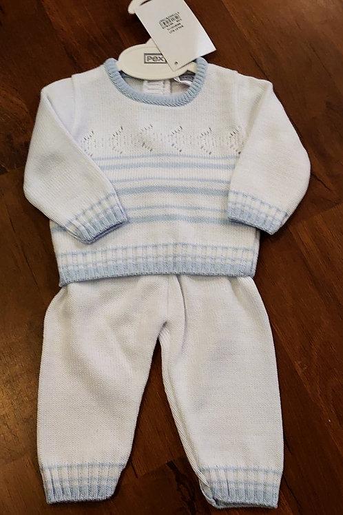 Pex Knitted White Trouser Set