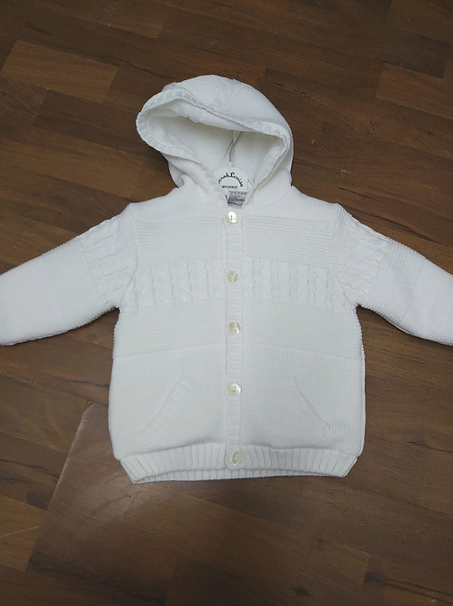 Sarah Louise Knitted White Jacket with Hood