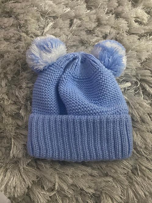 Cushty Blue double Pom Pom hat