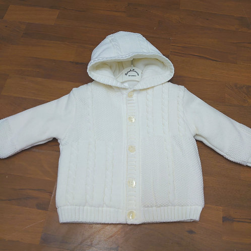 Sarah Louise Off White Knitted Hooded Hacket