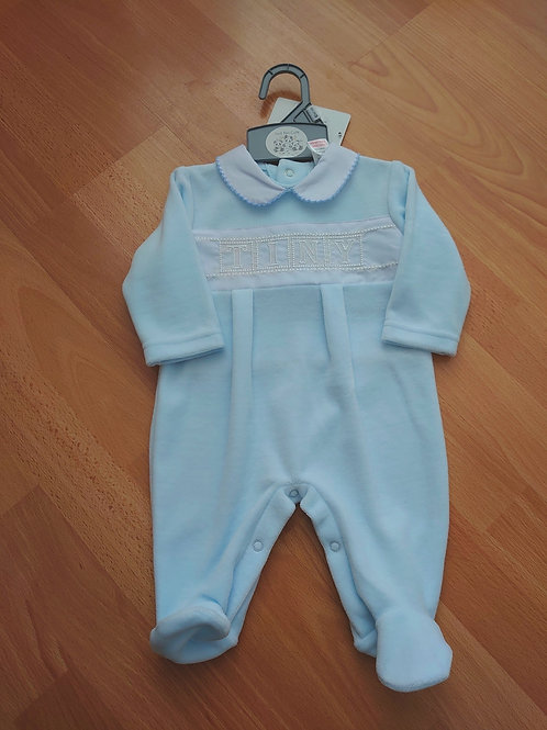 Just Too Cute Tiny Blue Velour Babygrow