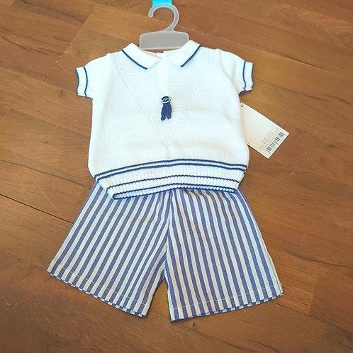 PEX Tailored Stripe Navy Short Set