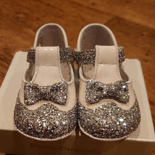 Pretty Originals White & Silver Glitter T-Bar Pram Shoes