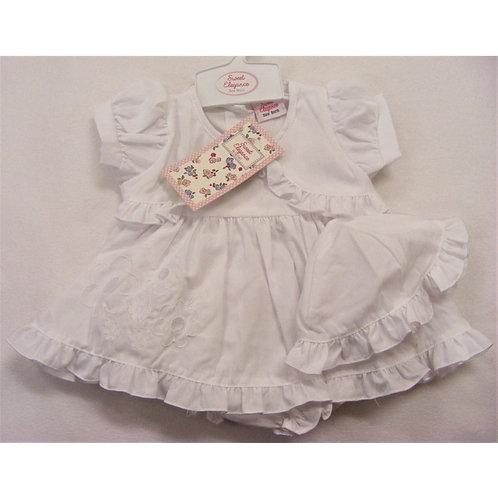 Sweet Elegance White Cotton Dress