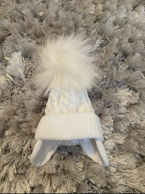 Little Nosh White fur Pom winter hat