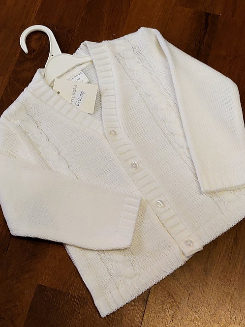 Little Nosh White V-Neck Cardigan