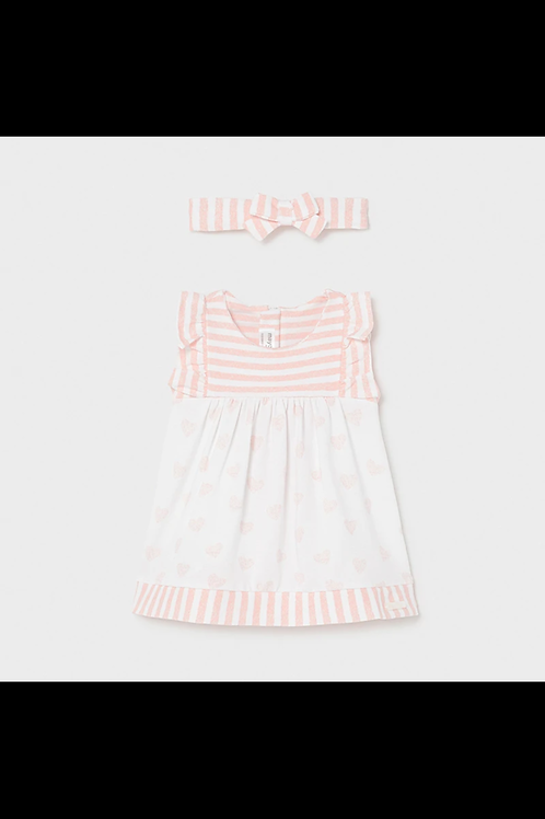 Mayoral white/peach dress and headband set 1802