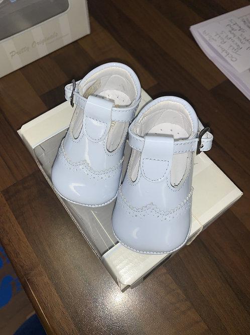 Pretty Originals Blue Patent T-Bar Pram Shoes