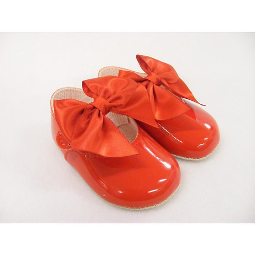 Baypods Red Oversized Bow Pram Shoes