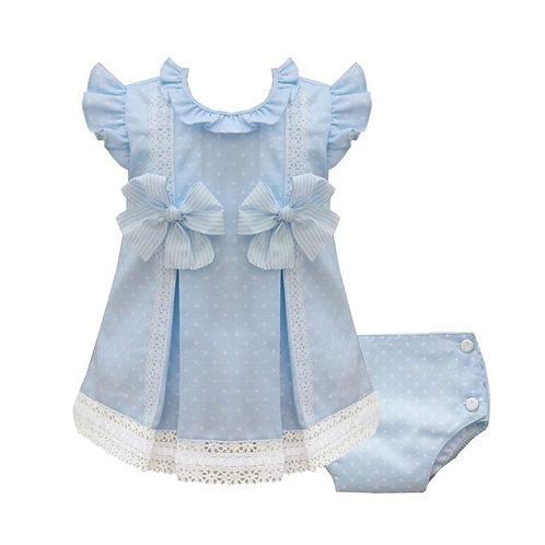 Pretty Originals Blue Spotty Dress Set