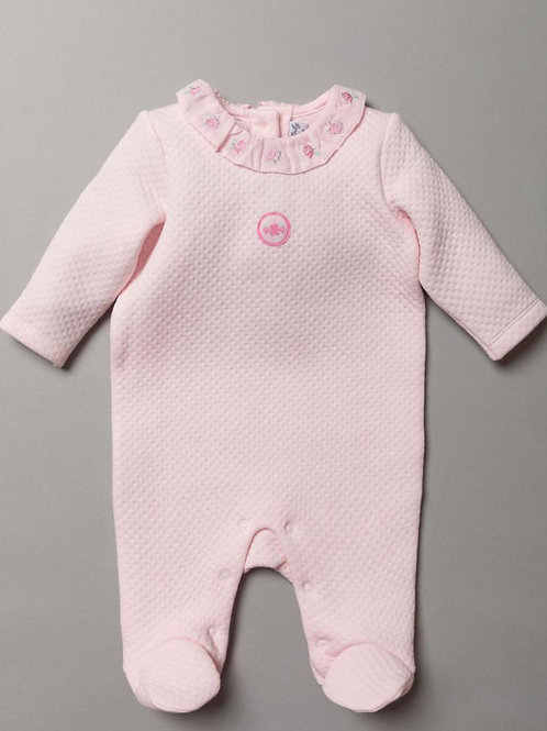 Rock a bye quilted pointelle sleepsuit