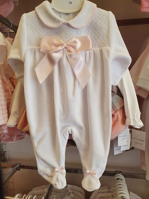 Little nosh white velour babygrow with pink bow