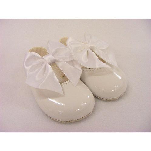 Baypods White Patent Oversized Bow Pram Shoes