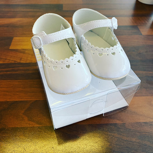 White patent soft bottom pram shoes