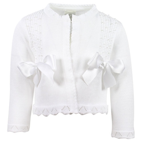 Pretty Originals White Pearl Cardigan & Bows