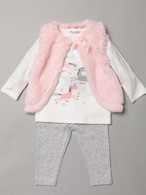 Bonjour Bebe Unicorn fur gilet leggings set