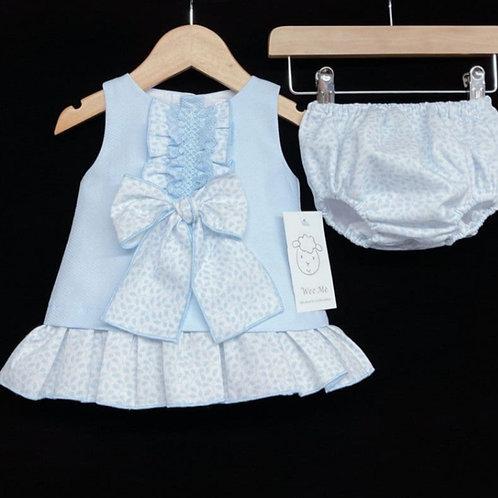 WeeMee Blue Floral A-Line Dress Set