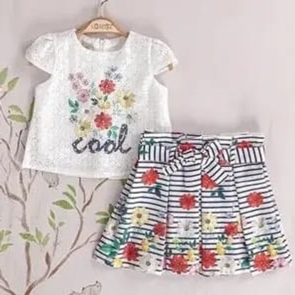 Lace T-shirt and floral skirt set