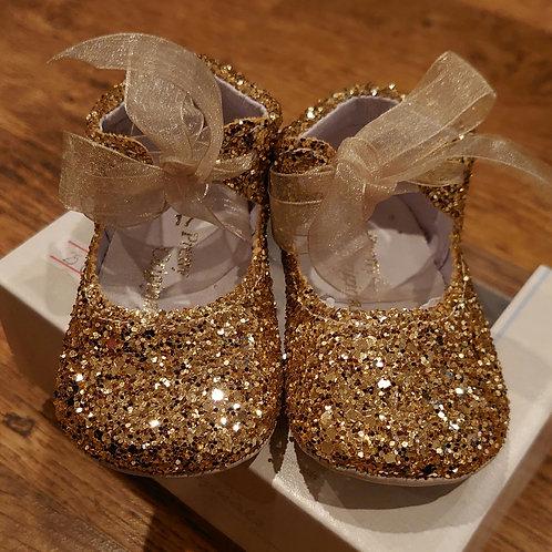 Pretty Originals Gold Glitter Pram Shoes