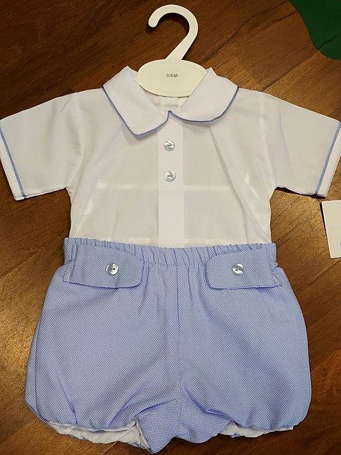 Little Nosh White Shirt & Shorts Set