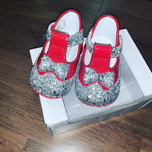 Pretty Originals Red & Silver Glitter T-Bar Shoes