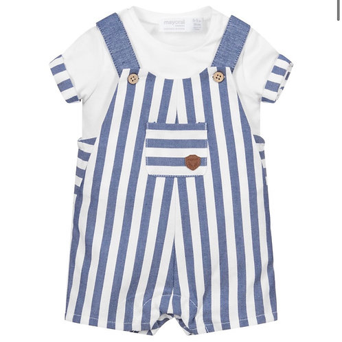 Mayoral stripped dungarees 1654