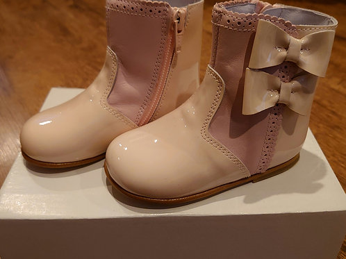 Pretty Originals Pink Patent Bow Ankle Boots