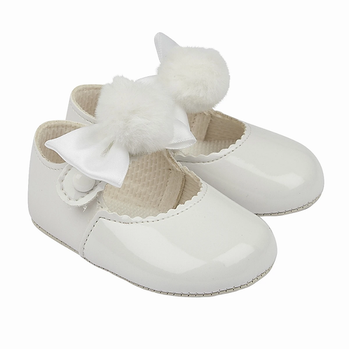Baypods White Patent Bow & Pom Pram Shoes