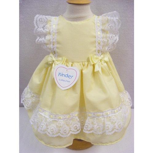 Kinder Lemon Ribbon & Lace Dress