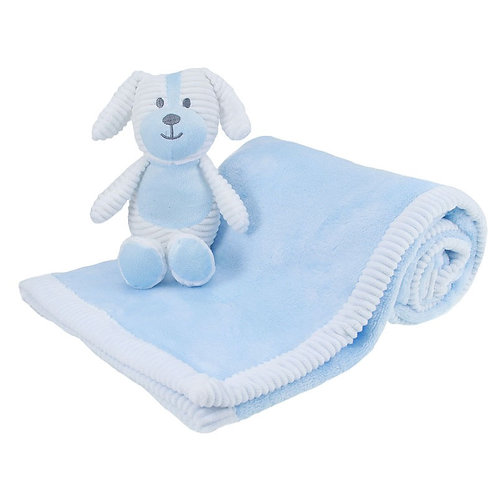 Baby blue blanket and comforter set