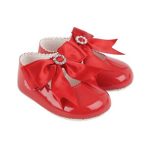 Baypods Red Patent Diamante Bow Pram Shoes