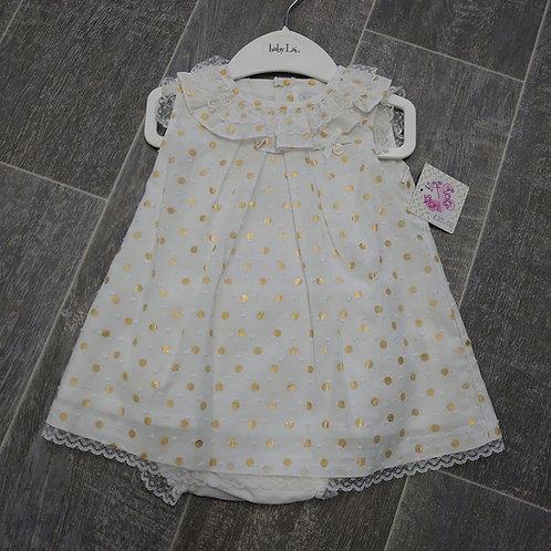 BabyLai Cream & Gold Dress