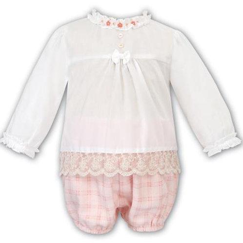 Sarah Louise Traditional Blush Check Bloomer & Blouse Set