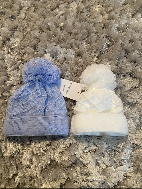 Little Nosh Boys blue/white winter hats