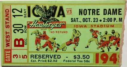 1948 Notre Dame Ticket