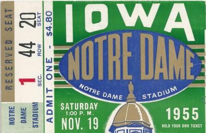1955 @ Notre Dame Ticket
