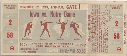 1949 @ Notre Dame Ticket