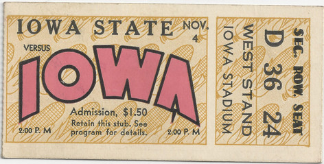 1933 Iowa State Ticket