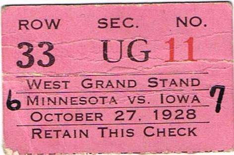 1928 Minnesota Ticket