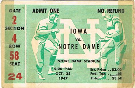 1947 @ Notre Dame Ticket