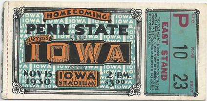 1930 Penn State Ticket