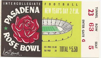 1956 Rose Bowl Ticket