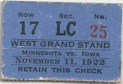 1922 Minnesota Ticket
