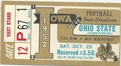 1952 Ohio State Ticket