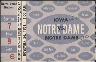 1951 @ Notre Dame Ticket